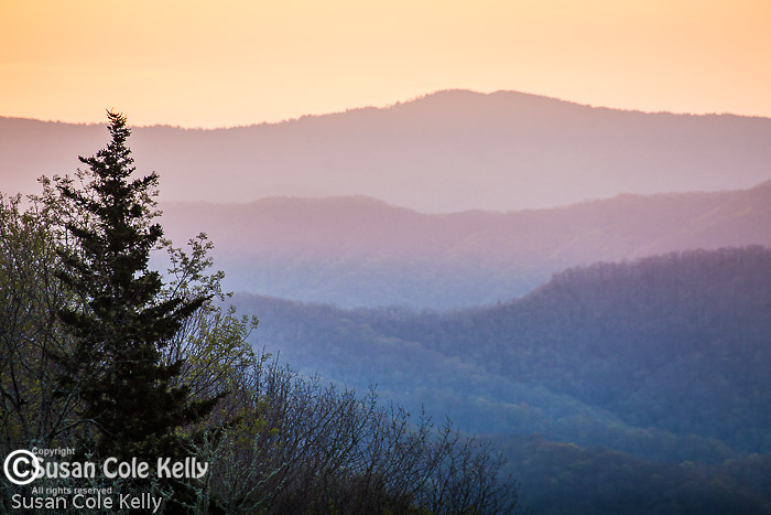 Sunrise view of the Oconaluftee River Valley, Great Smoky Mountains National Park, NC, USA
