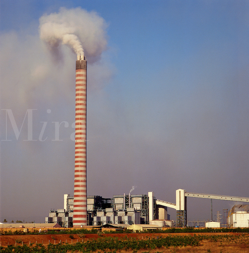 India. Korba.  Coal fired power station burning locally mined poor quality fuel with resulting high level of dust pollution. Madhya Pradesh.