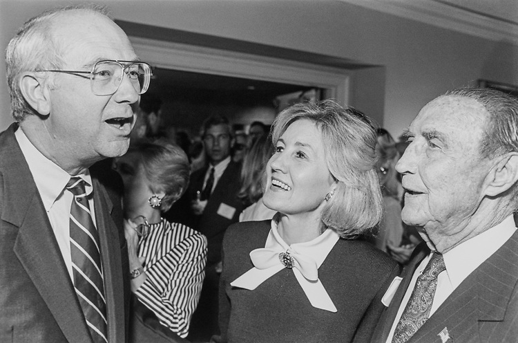 Sen. Phil Gramm, R-Tex., Sen. K.B. Hutchison, R-Tex. and Sen. Strom Thurmond, R-S.C. at an event honoring of K.B Hutchison and new group in Capitol Hill on July 14, 1993. (Photo by Chris Martin/CQ Roll Call)