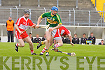 Kerry's Willie O'Dwyer and Derry's Malachy O Hagan in action in the Christy Ring Cup on Saturday.