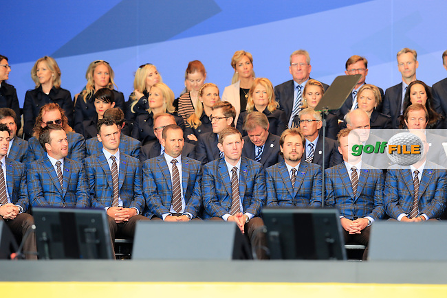 Europe team during the Opening Ceremony on Thursday at the 40th Ryder Cup, The Gleneagles Hotel, Perthshire from 26th to 28th September 2014<br /> Picture Eoin Clarke, www.golffile.ie