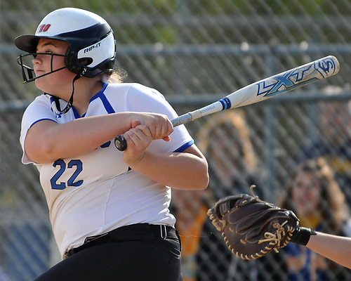 Ava Shorr #22, North Babylon pitcher, strokes an RBI double to deep left field in the bottom of the third inning of a Suffolk County League V varsity softball game against West Islip at North Babylon High School on Wednesday, May 9, 2018. North Babylon won by a score of 4-1.