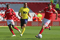 Blackburn Rovers' Elliott Bennett chases down Nottingham Forest's Jack Robinson<br /> <br /> Photographer David Shipman/CameraSport<br /> <br /> The EFL Sky Bet Championship - Nottingham Forest v Blackburn Rovers - Saturday 13th April 2019 - The City Ground - Nottingham<br /> <br /> World Copyright © 2019 CameraSport. All rights reserved. 43 Linden Ave. Countesthorpe. Leicester. England. LE8 5PG - Tel: +44 (0) 116 277 4147 - admin@camerasport.com - www.camerasport.com