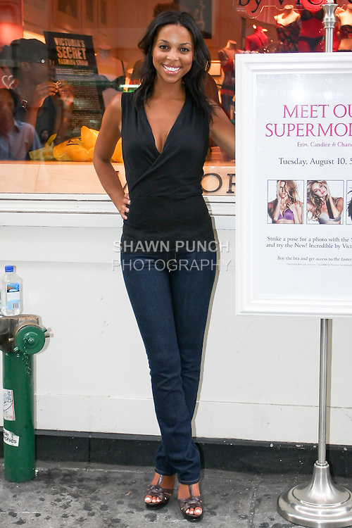 "Janelle poses during the ""Incredible by Victoria's Secret"" launch at the Victoria Secret SOHO Store, August 10, 2010."