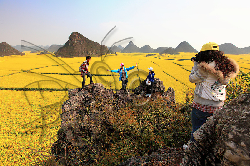 Luoping, Yunnan. Sur une colline entourée de champs de colza, des jeunes étudiants viennent se photographier. Le tourisme est en pleine expansion. 300 millions de Chinois voyagent dans leur pays chaque année et 46 millions se déplacent à l'étranger.///Luoping, Yunnan. On a hill surrounded by rape fields, young students come to have themselves photographed. Tourism is undergoing full expansion. 300 million Chinese travel in their country each year and 46 million travel overseas.