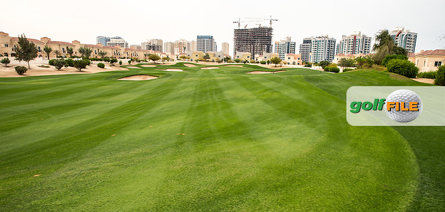 Reverse view of the dogleg on the 5th at The Els Club , Dubai, United Arab Emirates.  28/01/2016. Picture: Golffile | David Lloyd<br /> <br /> All photos usage must carry mandatory copyright credit (&copy; Golffile | David Lloyd)