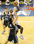 USA's LeBron James (r) and Argentina's Luis Scola during friendly match.July 22,2012. (ALTERPHOTOS/Acero)