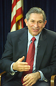 "Washington, DC - March 28, 2003 -- United States Deputy Secretary of Defense Paul Wolfowitz briefs international media at the Foreign Press Center in Washington, DC on March 28, 2003 on ""Eliminating the threat to World Security Posed by the Iraqi Regime and Halting the Torture, Imprisonment and Execution of Innocents"". He was accompanied by a group of Iraqi-Americans.<br /> Credit: Ron Sachs / CNP"