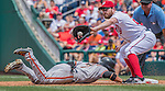 7 August 2016: Washington Nationals infielder Daniel Murphy makes a pickoff attempt at first during game action against the San Francisco Giants at Nationals Park in Washington, DC. The Nationals shut out the Giants 1-0 to take the rubber match of their 3-game series. Mandatory Credit: Ed Wolfstein Photo *** RAW (NEF) Image File Available ***