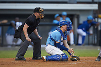 Burlington Royals catcher William Hancock (7) catches a low pitch as home plate umpire West Hyer looks on during the game against the Danville Braves at Burlington Athletic Stadium on August 9, 2019 in Burlington, North Carolina. The Royals defeated the Braves 6-0. (Brian Westerholt/Four Seam Images)