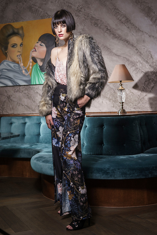 Sunday Mail, Fashion with Mirella Romano , Faux Fur at Propaganda bar  Model Lily Habermahl .Photo: Nick Clayton