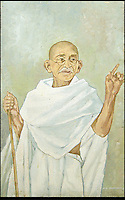 BNPS.co.uk (01202) 558833.Picture: collect..pictured: Fine painting of Gandhi standing with his iconic stick c1940s measuring approx 61cm by 39 cm. Signed by the artist J L Bhandari probably one of Gandhi's many followers...A pair of Gandhi's sandals from the 1920s that were given by the great holy man to a friend are now being sold for £15,000. His size 8 sandals footwear comes with a half-inch heel, which would have boosted the diminutive peace activist to 5ft 5ins...the sandals will be part of a £250,000 archive of material relating to the Indian hero. Many of the items were given to a close friend in 1924 when Gandhi lived at Palm Bun at Juhu in Maharashtra, India, and the artefacts have passed down the family, including a shawl, hand-woven by thread that Gandhi spun himself, his bedsheet, prayer beads and photographs. There are also three of Gandhi's delicately carved miniature figures depicting the wise monkeys; speak no evil, hear no evil, see no evil.