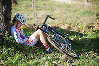 Gabriela Wojtyla (POL) exhausted post-race<br /> <br /> Elite Women's race<br /> Koppenbergcross 2015