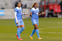 Bridgeview, IL, USA - Sunday, May 1, 2016:  Chicago Red Stars defender Samantha Johnson (16) and defender Casey Short (6) celebrate after a regular season National Women's Soccer League match between the Chicago Red Stars and the Orlando Pride at Toyota Park. Chicago won 1-0.
