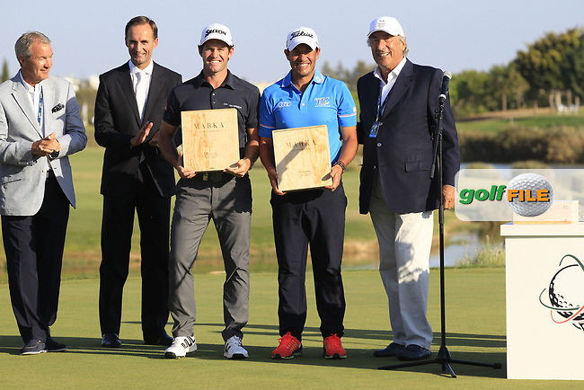 Ricardo Gouveia (POR) at the prize giving ceremony after the final round of the 2017 Portugal Masters, Dom Pedro Victoria Golf Course, Vilamoura, Portugal. 24/09/2017<br /> Picture: Fran Caffrey / Golffile<br /> <br /> All photo usage must carry mandatory copyright credit (&copy; Golffile | Fran Caffrey)