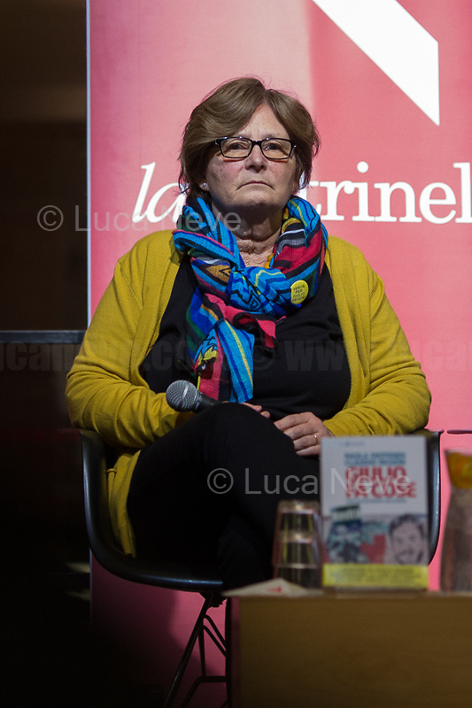 """Paola Deffendi. <br /> <br /> Rome, 03/02/20. The Galleria Alberto Sordi (outside la Feltrinelli store) was the venue for the book presentation """"Giulio Fa Cose"""" (Giulio Does Things, Ed. la Feltrinelli 1.) written by Paola Deffendi and Claudio Regeni (Giulio Regeni's Parents), and Alessandra Ballerini (Regeni's Lawyer). The event was hosted by Marino Sinibaldi (Journalist, literary critic, Radio host). Reader was Valerio Mastandrea (Director & Actor). From la Feltrinelli's website: «The world of politics has not yet responded to the tragedy of Giulio Regeni, who died on 25 January 2016 in Cairo. Al Sisi's Egypt did not respond. Indeed, it continues to sabotage the investigation into the kidnapping, torture and murder of the son of Paola and Claudio Regeni: in four years the Egyptians have killed five innocent people, invented incredible stories, falsified documents to remove suspects from their apparatuses. But without succeeding[…]» (1.)<br /> Giulio Regeni was an Italian Cambridge University graduate (PhD student at Girton College) who was kidnapped, tortured and killed in Egypt while he was researching Egypt's independent trade unions. The body of the 28-year-old researcher was found on a Cairo road on 3 February 2016. According to the autopsy, Giulio died after a vertebra in his neck was fractured. Moreover, his body - found on the Cairo-Alexandria desert road - shown signs of tortures, abrasions - including marks similar to cigarette burns - and fractures. After four years of disinformation, depistaggi, reticence, misdirection, the role of the Cambridge University, the role of President Al-Sisi Egyptian regime, after four years of a very difficult investigations for the Italian Police, the Regeni family and thousands of people are still calling for immediate truth about this brutal assassination.<br /> <br /> 1. http://bit.do/fqv39<br /> https://giuliosiamonoi.wordpress.com<br /> http://bit.do/frEzC<br /> 25.01.20 4 Anni Senza Giulio http://bit.do/frExj<br /> Vi"""