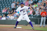 Winston-Salem Dash relief pitcher Kelvis Valerio (22) in action against the Buies Creek Astros at BB&T Ballpark on April 15, 2017 in Winston-Salem, North Carolina.  The Astros defeated the Dash 13-6.  (Brian Westerholt/Four Seam Images)