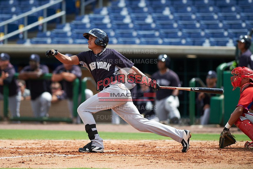 New York Yankees Leonardo Molina (82) during an instructional league game against the Philadelphia Phillies on September 29, 2015 at Brighthouse Field in Clearwater, Florida.  (Mike Janes/Four Seam Images)