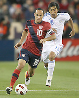 Landon Donavon(10) of the USA MNT races away from Marcelo Alejandro Estigambia(18) of Paraguay during an international friendly match at LP Field, in Nashville, TN. on March 29, 2011.Paraguay won 1-0.