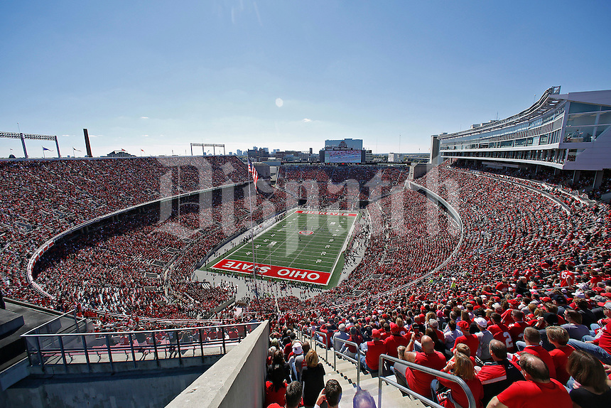 Ohio State Buckeyes kickoff to the Maryland Terrapins during the first half of their game in Ohio Stadium on October 10, 2015.  (Dispatch photo by Kyle Robertson)