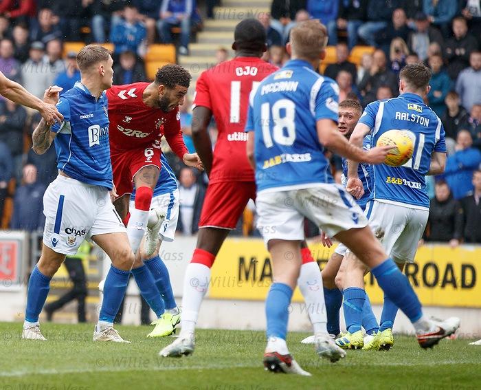 22.09.2019 St Johnstone v Rangers: Connor Goldson heads in goal no 2 for Rangers
