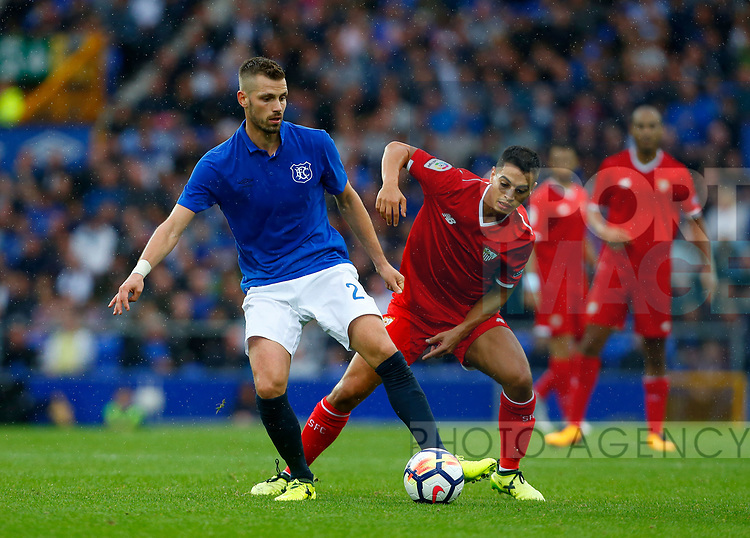 Everton's Morgan Schneiderlin in action with Sevilla's Joaquin Correa during the pre season friendly match at Goodison Park Stadium, Liverpool. Picture date 6th August 2017. Picture credit should read: Paul Thomas/Sportimage