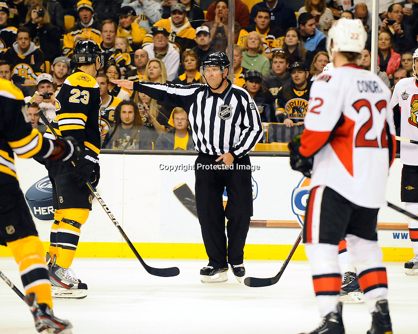 Boston Bruins versus Ottawa Senators. Game played at TD Garden, Boston, Massachusetts. November 1, 2011. Final Boston 5 Ottawa 3..Editorial Use ONLY. Mandatory Credit Eric Canha.