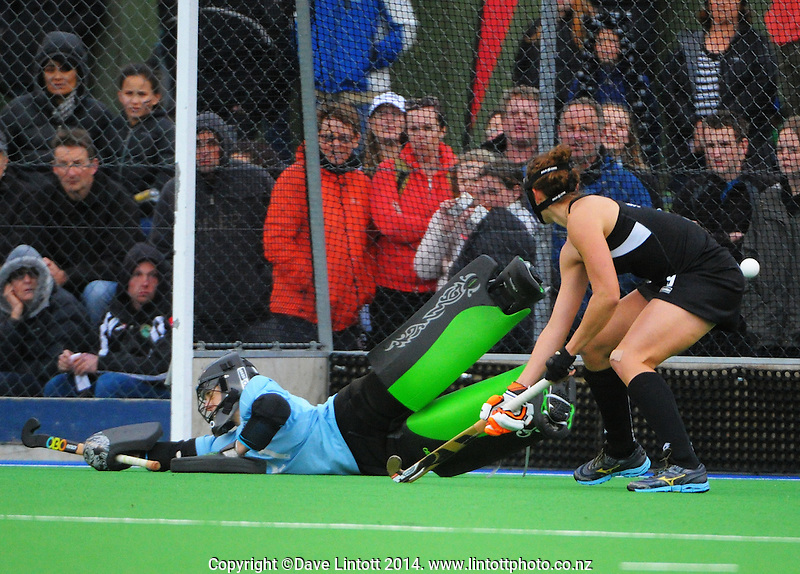 Georgia Barnett is beaten for USA's opening score during the international women's hockey match between the NZ Black Sticks and USA at Endeavour Twin Turfs, Palmerston North, New Zealand on Thursday, 23 October 2014. Photo: Dave Lintott / lintottphoto.co.nz