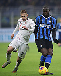Romelu Lukaku of Inter plays the ball under pressure from Marko Rog of Cagliari during the Coppa Italia match at Giuseppe Meazza, Milan. Picture date: 14th January 2020. Picture credit should read: Jonathan Moscrop/Sportimage