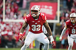 Wisconsin Badgers linebacker Leon Jacobs (32) during an NCAA College Big Ten Conference football game against the Michigan Wolverines Saturday, November 18, 2017, in Madison, Wis. The Badgers won 24-10. (Photo by David Stluka)