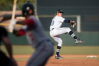 Peoria Javelinas relief pitcher Dalton Moats (39), of the Tampa Bay Rays organization, delivers a pitch during the Arizona Fall League Championship Game against the Salt River Rafters at Scottsdale Stadium on November 17, 2018 in Scottsdale, Arizona. Peoria defeated Salt River 3-2 in 10 innings. (Zachary Lucy/Four Seam Images)