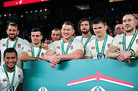 Dylan Hartley and the rest of the England team pose for a photo after the match. Old Mutual Wealth Series International match between England and South Africa on November 12, 2016 at Twickenham Stadium in London, England. Photo by: Patrick Khachfe / Onside Images
