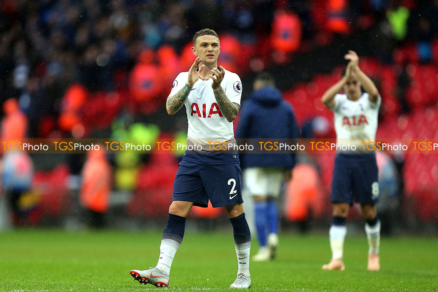Kieran Trippier of Tottenham Hotspur applauds the fans after  Tottenham Hotspur vs Cardiff City, Premier League Football at Wembley Stadium on 6th October 2018