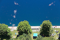The beaches and natural pools of Lake Bled photographed from up in the castle.///Les plages et piscines naturelles du lac de Bled photographiées du haut du château.