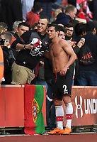 Southampton's Cedric Soares after match pose with fan<br /> <br /> Photographer David Horton/CameraSport<br /> <br /> The Premier League - Southampton v Chelsea - Saturday 14th April2018 - St Mary's Stadium - Southampton<br /> <br /> World Copyright &copy; 2018 CameraSport. All rights reserved. 43 Linden Ave. Countesthorpe. Leicester. England. LE8 5PG - Tel: +44 (0) 116 277 4147 - admin@camerasport.com - www.camerasport.com