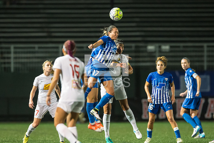 Allston, MA - Wednesday Sept. 07, 2016: Kyah Simon, Abby Erceg during a regular season National Women's Soccer League (NWSL) match between the Boston Breakers and the Western New York Flash at Jordan Field.