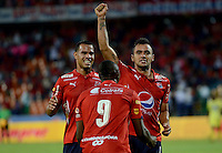 MEDELLÍN -COLOMBIA-03-09-2016. Marlon Piredrahita (Der) jugador del Medellín celebra después de anotar un gol durante el encuentro entre Independiente Medellín y Atlético Bucaramanga por los fecha 1 de la Liga Águila II 2016 jugado en el estadio Atanasio Girardot de la ciudad de Medellín./ Marlon Piredrahita (R) player of Medellin celebrates after scoring a goal during match between Independiente Medellin and Deportivo Cali for for the date 1 of the Aguila League II 2016 at Atanasio Girardot stadium in Medellin city. Photo: VizzorImage/ León Monsalve /Str