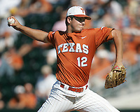 University of Texas freshman pitcher Brandon Workman delivers a pitch against Baylor on May 3rd, 2008. Photo by Andrew Woolley / Four Seam Images