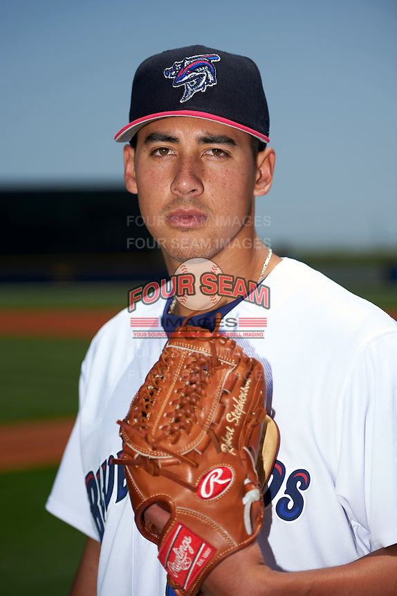 Pensacola Blue Wahoos pitcher Robert Stephenson (17) poses for a photo before a double header against the Biloxi Shuckers on April 26, 2015 at Pensacola Bayfront Stadium in Pensacola, Florida.  (Mike Janes/Four Seam Images)