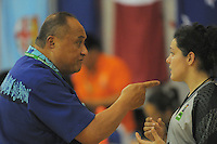 Samoa coach Willie Leauanae nakes a point during the 2013 FIBA Oceania Pacific Championship women's 5th place playoff match between Fiji (black) and Samoa (white) at Te Rauparaha Arena, Porirua, Wellington, New Zealand on Wednesday, 4 December 2013. Photo: Dave Lintott / lintottphoto.co.nz
