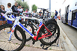 Groupama-FDJ team Lapierre bikes lined up at the team bus before the start of Stage 4 of La Vuelta 2019 running 175.5km from Cullera to El Puig, Spain. 27th August 2019.<br /> Picture: Eoin Clarke | Cyclefile<br /> <br /> All photos usage must carry mandatory copyright credit (© Cyclefile | Eoin Clarke)