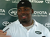 Steve McLendon #99 speaks with the media after a day of New York Jets Training Camp at the Atlantic Health Jets Training Center in Florham Park, NJ on Wednesday, Aug. 9, 2017.