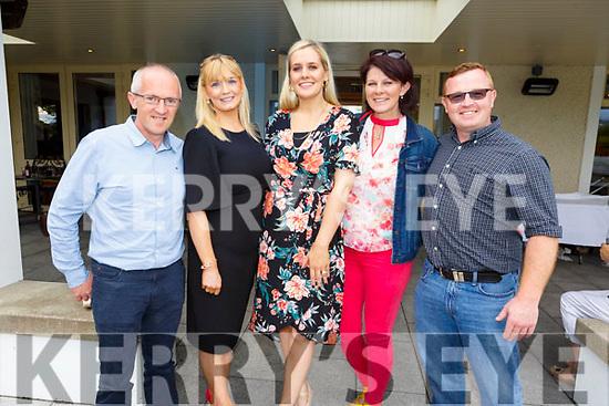 L-r, Sean Stack, Christina O'Sullivan, Loretta Lawlor, Caroline Leahy and Chris Howarth. Enjoying the sun and fun at the Dairymaster 50th Anniversary BBQ in the Ballygarry Hotel on Sunday.