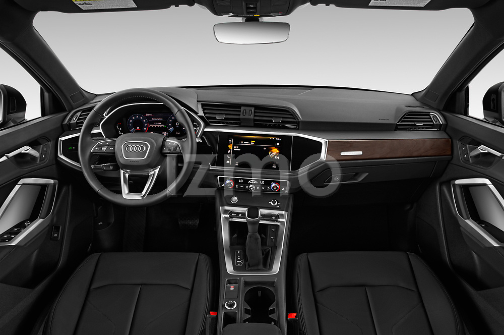 Stock photo of straight dashboard view of a 2019 Audi Q3 Premium Plus 5 Door SUV