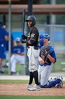 Pittsburgh Pirates center fielder Lolo Sanchez (14) at bat in front of catcher Hagen Danner (26) during a Florida Instructional League game against the Toronto Blue Jays on September 20, 2018 at the Englebert Complex in Dunedin, Florida.  (Mike Janes/Four Seam Images)