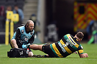 Kieran Brookes of Northampton Saints is treated for an injury by a physio. Aviva Premiership match, between Northampton Saints and Saracens on April 16, 2017 at Stadium mk in Milton Keynes, England. Photo by: Patrick Khachfe / JMP