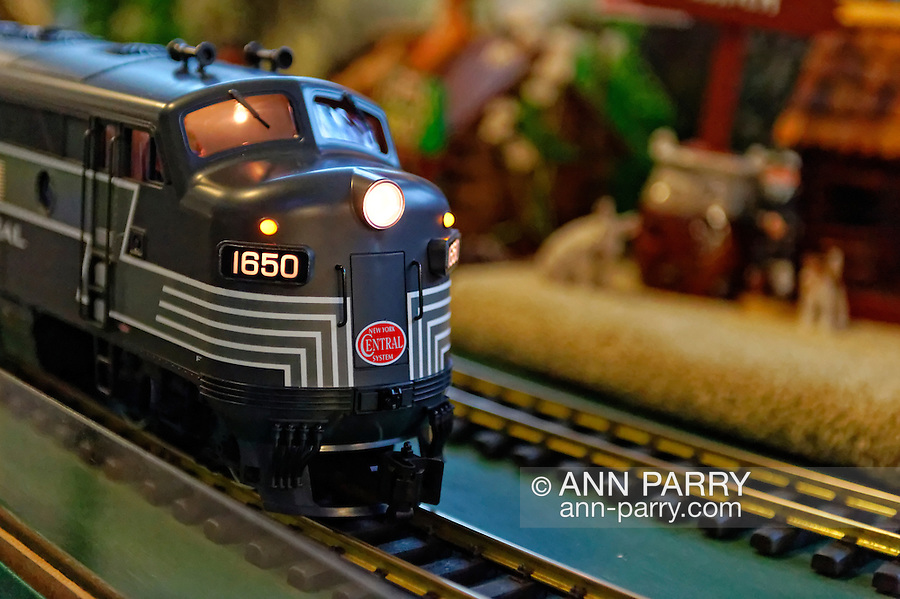 Dec. 26, 2012 - Garden City, New York, U.S. - The Long Island Garden Railway Society large-scale model train display is a festive winter holiday attraction in the vast 3-floor atrium of Cradle of Aviation museum, until shortly after New Years Day 2013. This is a close-up of G-Scale New York Central engine. LIGRS shares the knowledge, fun, and camaraderie of large-scale railroading both indoors and in the garden, and is family oriented.