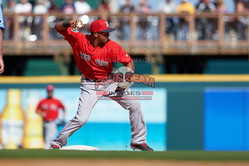 Boston Red Sox shortstop Marco Hernandez (79) throws to first base during a Spring Training game against the Pittsburgh Pirates on March 9, 2016 at McKechnie Field in Bradenton, Florida.  Boston defeated Pittsburgh 6-2.  (Mike Janes/Four Seam Images)
