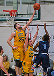3 March 2018: University of Vermont Forward Drew Urquhart (25), a Senior from Vancouver, British Columbia, blocks a shot during the America East quarterfinals against Maine at Patrick Gymnasium in Burlington, Vermont. The Catamounts defeated the Black Bears 75-60 to move onto the AE semi-finals. Mandatory Credit: Ed Wolfstein Photo *** RAW (NEF) Image File Available ***