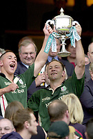 10/04/2002 - Powergen National Cup Final - Twickenham.London Irish vs Northampton..Brendab Venter right celebrates with James Brown